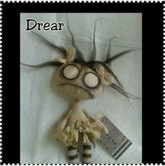 Hand Made Primitive Gothic Art Cloth Doll - Lil' Darkling Drear by Crow House Dolls