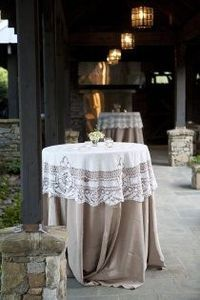 loving the table linens, lace and solid