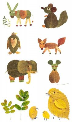 Leaf animals inspiration for nature crafts.