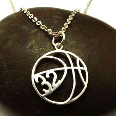 Personalized Basketball Necklace Basketball Jewelry by yhtanaff