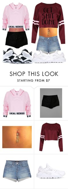 """2 Hoodie Outfits"" by creative-qveen ❤ liked on Polyvore featuring Local Heroes, Kendall + Kylie, J Brand and NIKE"