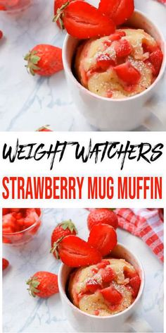 Get ready to fire up those microwaves for a tasty and delicious Weight Watchers strawberry muffin! Yes, a microwave Weight Watchers strawberry muffin in a mug. A quick and easy Weight Watchers… Weight Watcher Desserts, Weight Watcher Mug Cake, Weight Watcher Muffins, Weight Watchers Kuchen, Weight Watchers Meals, Microwave Mug Recipes, Mug Cake Microwave, Microwave Muffin, Microwave Meals