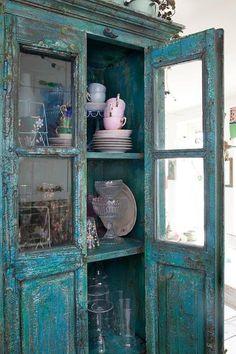 Bluish-Green Shabby Chic Cabinet