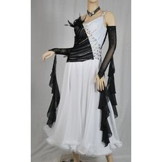 White & Black Ballroom Vienesse Waltz Smooth Dress - M