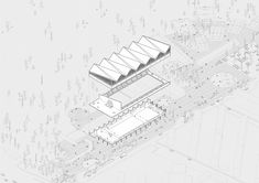The aquatic centre consists of a series of volumes arranged along the street to allow for outdoor public space to appear in between the built forms. The roof of the main swim hall hints at Milan's industrial past but at the same time takes on a contemporary twist with its alternating pitch. Axonometric Drawing, The Prestige, Arch, Instagram, Drawings, Illustration, Projects, Design, Madness