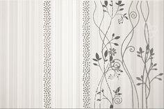 Faianta cu Flori Gri Decorativa cu model clasic din colectia ceramica Calipso de la Opoczno- Una din cele mai inspirate alegeri pentru amenajarea baii. Pret Curtains, Shower, Modern, Prints, Home Decor, Calypso Music, Rain Shower Heads, Blinds, Trendy Tree