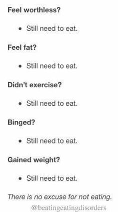 There is no excuse for not eating