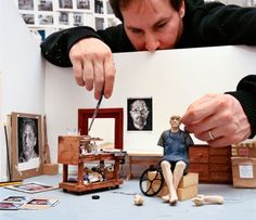 Joe Fig's polymer clay miniature models of famous artists in their studios are amazing.