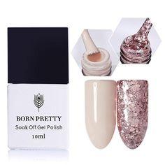 BORN PRETTY 2 Bottles Nude Gel Lacquer Pink Glitter Sequins Gel Polish 10ml Soak Off Nail Art UV Gel Polish Varnish UV LED