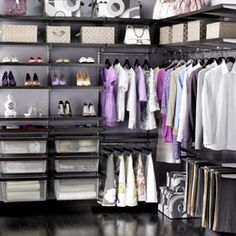 Elfa into a corner! The Container Store > Walnut & Platinum elfa décor Walk-In Closet contemporary closet Elfa Closet, Closet Space, Shoe Closet, Walk In Closet Design, Closet Designs, Wardrobe Design, Master Closet, Closet Bedroom, Dorm Closet