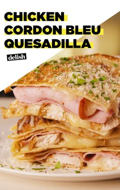Chicken Cordon Bleu Tastes Amazing In A QuesadillaDelishPSA! Chicken Cordon Bleu Tastes Amazing In A QuesadillaDelish Mexican Dishes, Mexican Food Recipes, Dinner Recipes, Dinner Ideas, How To Cook Chicken, Cheesy Chicken, Chicken Ham, Chicken Meals, Grilled Chicken