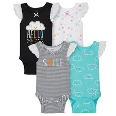 f7e776a5c 4-Pack Girls Clouds Sleeveless Onesies® Bodysuits. Baby Girl RomperBaby ...