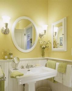 8 Enlightening Color Ideas For Windowless Bathroom bathroom bright color large window windowless, Interior Design 634796509954909724 Small Bathroom Colors, Bathroom Color Schemes, Bathroom Yellow, Bathroom Small, White Bathrooms, Neutral Bathroom, Vintage Bathrooms, Bad Inspiration, Bathroom Inspiration