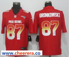 f5a09555c21 Nike AFC Patriots 87 Rob Gronkowski Red 2019 Pro Bowl Limited Jersey