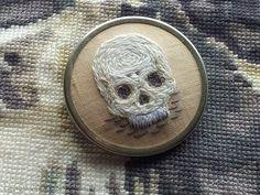 Embroidered Skull Brooch via Mother Eagle