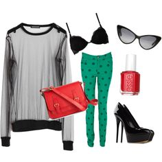 Noir, Vert, Red, created by trace-lemon on Polyvore