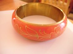 "Vintage goldtone bangle with pink enamel gold pattern 2.5""across 9.5""long 3/3""w Listing in the 1950s-1970s,Antique & Vintage,Jewellery & Watches Category on eBid United Kingdom"