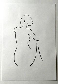 Boceto desnudo. Mujer de espalda. Dibujo de línea minimalista