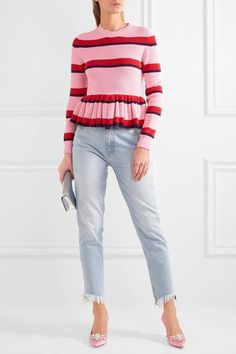 MSGM - Striped Cotton Peplum Sweater - Pink - x small
