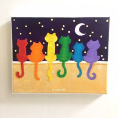 Excited to share the latest addition to my shop: Rainbow Cats on a Wall Art inch acrylic canvas painting, colorful aninmal art, kids decor, cheerful art Halloween Canvas Paintings, Small Canvas Paintings, Easy Canvas Painting, Acrylic Painting Tutorials, Acrylic Canvas, Diy Painting, Beginner Painting, Painting Lessons, Easy Paintings