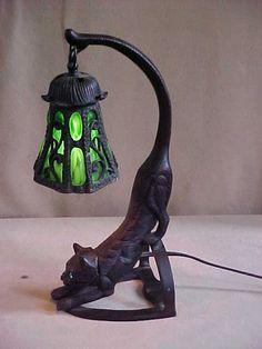 215: Sm. Tiffany Style Lamp w/ Bronze Cat Base : Lot 215