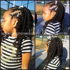Front Cornrows And 2 Strand Twists Shared By Caramel Curlz & Swirls - http://www.blackhairinformation.com/community/hairstyle-gallery/kids-hairstyles/front-cornrows-2-strand-twists-shared-caramel-curlz-swirls/ #kidshair #twists #naturalhair