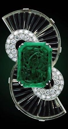 Art Deco Boucheron ~ Emerald & Diamond Brooch