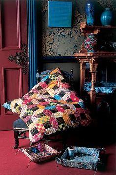 Another wonderful pillow idea - Kaffe Fassett pattern...Gilded Frames Floor Cushion, Caravan of Quilts - book #6