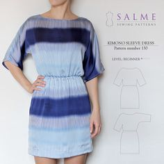 Kimono Sleeve Dress Beginner Sewing Pattern – Salme Sewing Patterns
