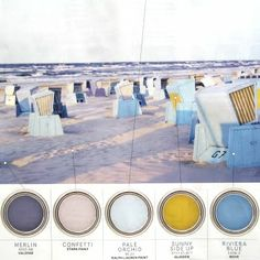 Love this color scheme for my beach room and it even has the paint brand and color. Hope they will still be an active paint line when I get home!