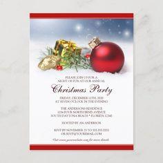 Festive Christmas Party Invitation Postcard #christmas #festive #affordable #budget #celebration