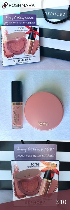 """Tarte Lip & Cheek Set • Brand new in box, products never opened • Includes Amazonian Clay blush in shade """"Paaarty"""" and creamy matte lip paint in shade """"Birthday Suit"""" • Picture posted of box to provide additional info, including size • tarte Makeup"""