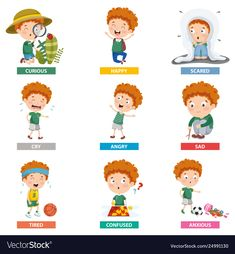 Vector illustration of cartoon character Premium Vector Happy Children's Day, Happy Kids, Emotion Words, Teaching Emotions, Cartoon People, Kid Character, Doodle, Drawing For Kids, Cartoon Characters