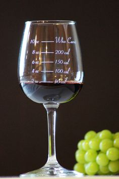 Funny etched wine glass from Etsy.  Calorie Counting Wine Glass - Full 10oz glass = Who Cares?