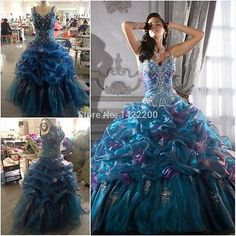 Sexy Blue Quinceanera Dresses For 15 Years Prom Party Ball Gown Stock 6-16