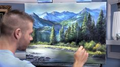 """Kevin Hill: """"Watch an artistic, evergreen mountain landscape painting with vivid colors, filled with sunlight being crafted in oil paint. Canvas Painting Tutorials, Acrylic Painting Lessons, Painting Videos, Cool Landscapes, Landscape Paintings, Art Paintings, Orlando Floride, Kevin Hill Paintings, Evergreen Forest"""