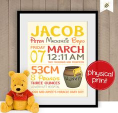 Winnie The Pooh themed Baby Keepsake  physical by PaperBeeDesigns, $14.00