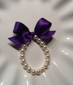 Little Girl Pearl Bracelet with PLUM ribbon for by mmtncrfts