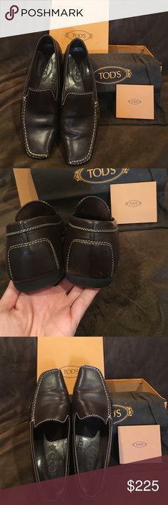 Authentic TOD'S shoes. Authentic TOD'S driving loafers. Brown leather with cream stitch work. Original box and dust bag included. Authentication included. Tod's Shoes Flats & Loafers