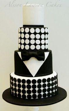 Black and white cake.   Cake decorating ideas