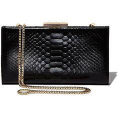 Salvatore Ferragamo Framed Clutch (10.965 RON) ❤ liked on Polyvore featuring bags, handbags, clutches, purses, bolsas, sac, black, chain handle handbags, snake print handbag and clasp purse