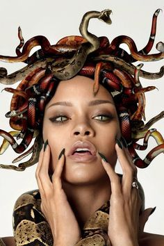 Rihanna for GQ. I wonder if I could use plastic snakes to recreate this?