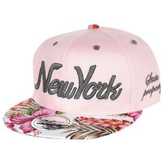 River Island Girls pink floral New York snapback hat ( 12) ❤ liked on  Polyvore featuring accessories and hats e75603c50e5