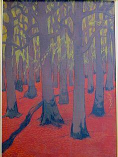 Forêt au sol rouge (1891), Georges Lacombe - Exposition Les Univers de Georges Lacombe, Musée Maurice Denis, Saint-Germain-en-Laye (78) | Flickr - Photo Sharing!