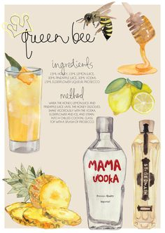 For the cocktail lover... This Queen Bee cocktail recipe is a great addition to the kitchen. With ingredients list, and instructions on