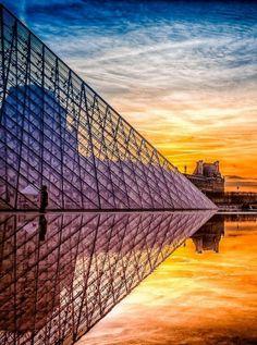 The Louvre at Sunset. Paris, France: