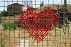Cross-stitched Street Art Hearts