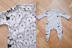 Meine Erfahrung mit Purlbees kostenlosem Schnittmuster für einen Baby Schlafanzug, der dank Downloaddatei Füßchen bekommt.