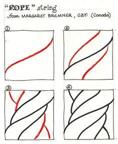 Rope Drawing Tutorial Technique Doodlin Pinterest Zentangle