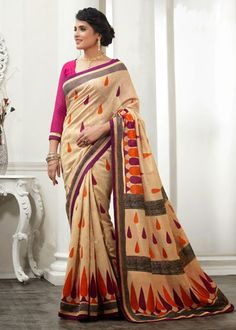 USD 43.41 Beige Silk Party Wear Saree  36667
